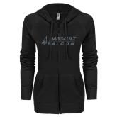 ENZA Ladies Black Light Weight Fleece Full Zip Hoodie-Dassault Falcon