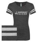 ENZA Ladies Black/White Vintage Triblend Football Tee-Dassault Falcon