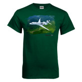 Dark Green T Shirt-Falcon 5X Over Green Landscape
