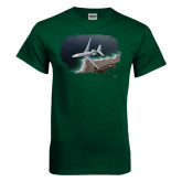 Dark Green T Shirt-Falcon 7X Over Beach