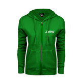 ENZA Ladies Kelly Green Fleece Full Zip Hoodie-Dassault Falcon