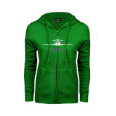 ENZA Ladies Kelly Green Fleece Full Zip Hoodie-Trijet Craft Stacked - Falcon 900, Falcon 900EX, Falcon 50EX