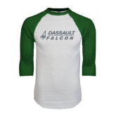 White/Dark Green Raglan Baseball T-Shirt-Dassault Falcon