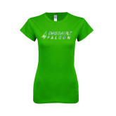 Next Level Ladies SoftStyle Junior Fitted Kelly Green Tee-Dassault Falcon Foil