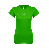 Next Level Ladies SoftStyle Junior Fitted Kelly Green Tee-Falcon 900LX Craft Foil