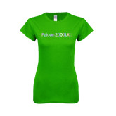 Next Level Ladies SoftStyle Junior Fitted Kelly Green Tee-Falcon 2000LXS Foil