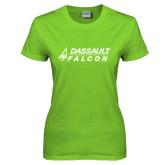 Ladies Lime Green T Shirt-Dassault Falcon