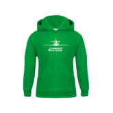 Youth Kelly Green Fleece Hoodie-Trijet Craft Stacked - Falcon 900, Falcon 900EX, Falcon 50EX