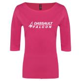 Ladies Dark Fuchsia Perfect Weight 3/4 Sleeve Tee-Dassault Falcon
