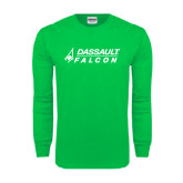 Kelly Green Long Sleeve T Shirt-Dassault Falcon