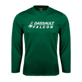 Performance Dark Green Longsleeve Shirt-Dassault Falcon