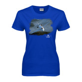 Ladies Royal T Shirt-Twinjet Craft Stacked - Falcon 2000, Falcon 2000EX