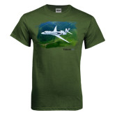 Military Green T Shirt-Falcon 5X Over Green Landscape