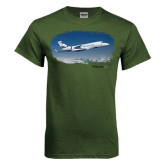 Military Green T Shirt-Falcon 5X Over Clouds