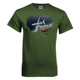 Military Green T Shirt-Falcon 7X Over Beach