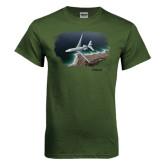Military Green T Shirt-Falcon 7X Over Beach