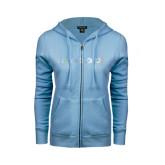 ENZA Ladies Light Blue Fleece Full Zip Hoodie-Falcon 2000LXS Foil