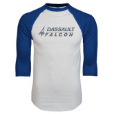 White/Royal Raglan Baseball T Shirt-Dassault Falcon