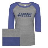 ENZA Ladies Athletic Heather/Blue Vintage Baseball Tee-Dassault Falcon