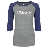 ENZA Ladies Athletic Heather/Blue Vintage Baseball Tee-Falcon