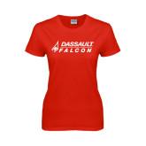 Ladies Red T Shirt-Dassault Falcon