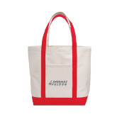 Contender White/Red Canvas Tote-Dassault Falcon
