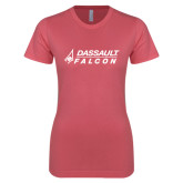 Next Level Ladies SoftStyle Junior Fitted Pink Tee-Dassault Falcon