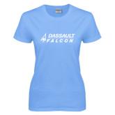 Ladies Sky Blue T-Shirt-Dassault Falcon
