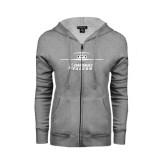 ENZA Ladies Grey Fleece Full Zip Hoodie-Trijet Craft Stacked - Falcon 900, Falcon 900EX, Falcon 50EX