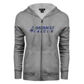 ENZA Ladies Grey Fleece Full Zip Hoodie-Dassault Falcon