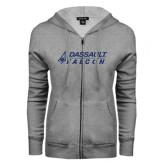 ENZA Ladies Grey Fleece Full Zip Hoodie-Dassault Falcon