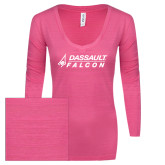ENZA Ladies Hot Pink Long Sleeve V Neck Tee-Dassault Falcon