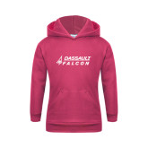 Youth Raspberry Fleece Hoodie-Dassault Falcon