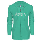 ENZA Ladies Seaglass Light Weight Fleece Full Zip Hoodie-Dassault Falcon
