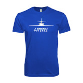 Next Level SoftStyle Royal T Shirt-Trijet Craft Stacked - Falcon 900, Falcon 900EX, Falcon 50EX