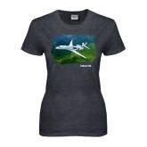 Ladies Dark Heather T Shirt-Falcon 5X Over Green Landscape