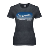 Ladies Dark Heather T Shirt-Falcon 5X Over Clouds