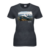 Ladies Dark Heather T Shirt-Falcon 8X Over River
