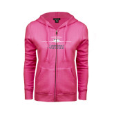 ENZA Ladies Fuchsia Fleece Full Zip Hoodie-Trijet Craft Stacked - Falcon 900, Falcon 900EX, Falcon 50EX