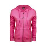 ENZA Ladies Fuchsia Fleece Full Zip Hoodie-Falcon 900LX Craft Foil