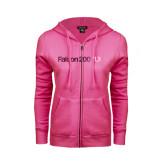 ENZA Ladies Fuchsia Fleece Full Zip Hoodie-Falcon 2000LXS Foil