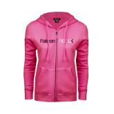ENZA Ladies Fuchsia Fleece Full Zip Hoodie-Falcon 2000LX Foil