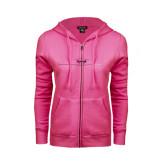 ENZA Ladies Fuchsia Fleece Full Zip Hoodie-Falcon 2000LX Craft Foil