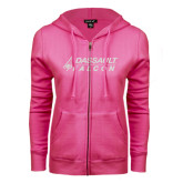 ENZA Ladies Fuchsia Fleece Full Zip Hoodie-Dassault Falcon