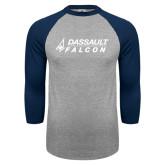Grey/Navy Raglan Baseball T Shirt-Dassault Falcon