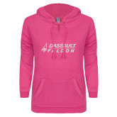 ENZA Ladies Hot Pink V Notch Raw Edge Fleece Hoodie-Dassault Falcon