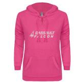 ENZA Ladies Hot Pink V Notch Raw Edge Fleece Hoodie-Dassault Falcon