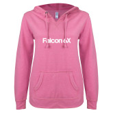 ENZA Ladies Hot Pink V Notch Raw Edge Fleece Hoodie-Falcon 6X
