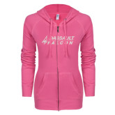 ENZA Ladies Hot Pink Light Weight Fleece Full Zip Hoodie-Dassault Falcon