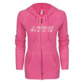 ENZA Ladies Hot Pink Light Weight Fleece Full Zip Hoodie-Dassault Falcon